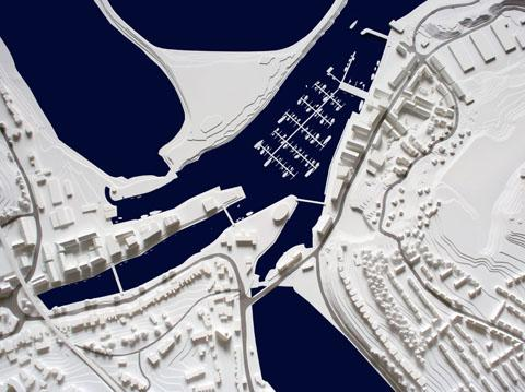 Aerial view of model made in-house.